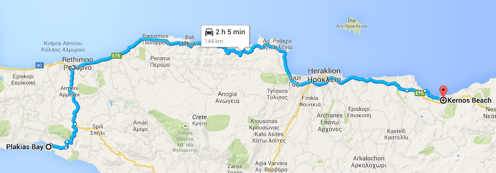 From Plakias Bay hotel to Kernos Beach hotel.
